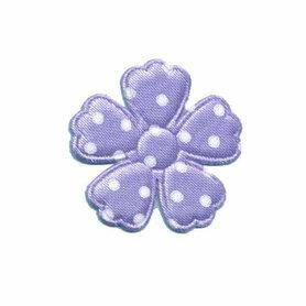 Applicatie bloem lila met witte stippen satijn middel 30 mm (ca. 100 stuks)