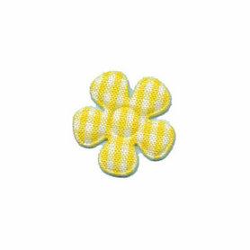 Applicatie geruite bloem geel-wit klein 20 mm (ca. 100 stuks)