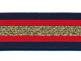 Elastiek gestreept donker blauw-rood met goud lurex 30 mm (ca. 15 m)