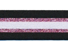 Elastiek gestreept zwart-wit met roze lurex 30 mm (ca. 15 m)