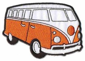 Opstrijkbare applicatie 'VW bus' oranje (5 stuks)