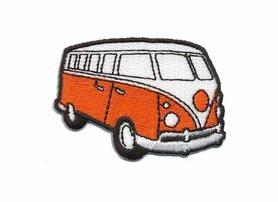 Opstrijkbare applicatie 'VW bus' oranje klein (5 stuks)