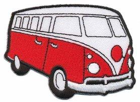 Opstrijkbare applicatie 'VW bus' rood (5 stuks)