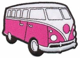 Opstrijkbare applicatie 'VW bus' fuchsia (5 stuks)
