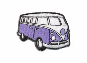 Opstrijkbare applicatie 'VW bus' lila klein (5 stuks)