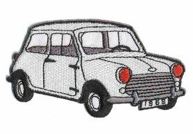 Opstrijkbare applicatie auto 'Mini' wit (5 stuks)