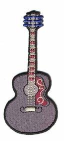 Opstrijkbare applicatie gitaar grijs (5 stuks)