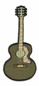 Opstrijkbare applicatie gitaar legergroen (5 stuks)