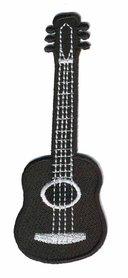 Opstrijkbare applicatie gitaar zwart (5 stuks)