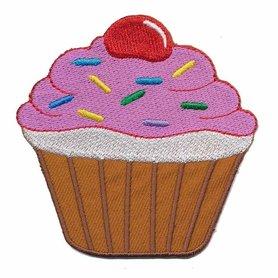 Opstrijkbare applicatie cupcake bruin-roze (5 stuks)