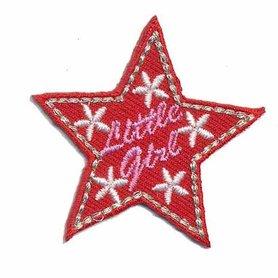 Opstrijkbare applicatie ster 'Little girl' rood (5 stuks)