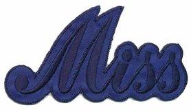 Opstrijkbare applicatie 'Miss' blauw (5 stuks)
