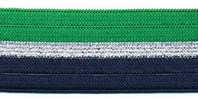 Elastiek gestreept groen-zilver lurex-donker blauw 25 mm (ca. 25 m)