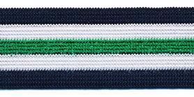Elastiek gestreept donkerblauw-wit met groen lurex 25 mm (ca. 25 m)
