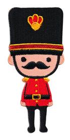 Opstrijkbare applicatie English Guard rood/zwart (5 stuks)