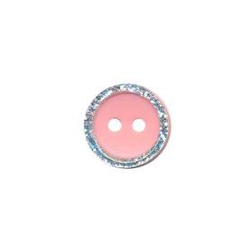 Knoop met glitter rand licht roze 11 mm (ca. 100 stuks)