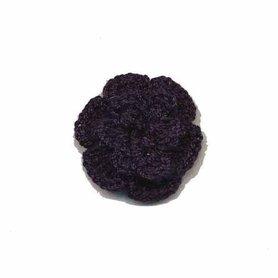 Gehaakt roosje donker blauw 25 mm (10 stuks)