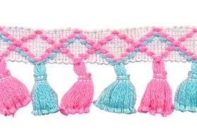 Band met kwastjes wit-fel roze-blauw 45 mm (ca. 10 meter)