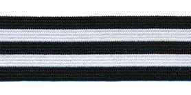 Elastiek gestreept zwart-wit-zwart-wit-zwart 25 mm (ca. 25 m)