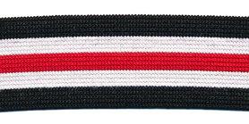 Elastiek gestreept zwart-gebroken wit-rood 25 mm (ca. 25 m)