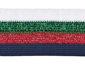 Wit-groen lurex-rood lurex-donker blauw sierband 40 mm (ca. 25 m)