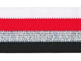 Wit-rood-zilver lurex-zwart sierband 40 mm (ca. 25 m)