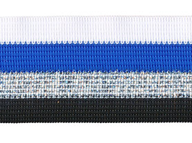 Wit-kobalt blauw-zilver lurex-zwart sierband 40 mm (ca. 25 m)