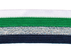 Wit-groen-zilver lurex-donker blauw sierband 40 mm (ca. 25 m)