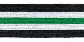 Elastiek gestreept zwart-gebroken wit-groen 25 mm (ca. 25 m)