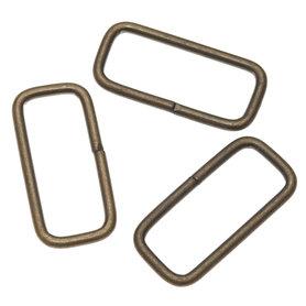 Metalen passant rechthoekig bronskleurig 38 mm (ca. 25 stuks)