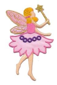 Opstrijkbare applicatie elfje met toverstaf in roze jurk (5 stuks)