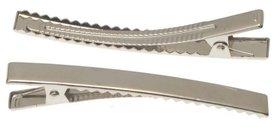 Alligator knipje rechthoekig zilver XXL 8 cm  (ca. 20 stuks)