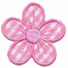 Applicatie geruite bloem roze (10 stuks)