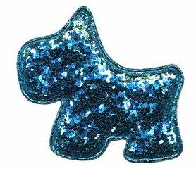 Applicatie glitter hond blauw groot 60 x 50 mm (10 stuks)