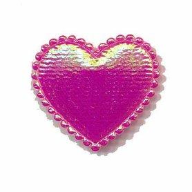 Applicatie glim hart fuchsia middel 35 x 30 mm (ca. 100 stuks)