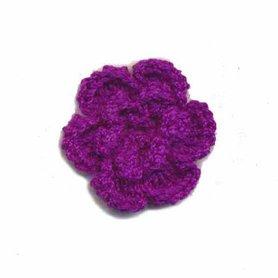 Gehaakt roosje paars 25 mm (10 stuks)