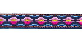 Sierband fantasy patroon blauw-roze-fuchsia-geel-oranje 12 mm (ca. 22 m)