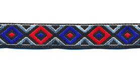 Sierband wieber rood-zilver-blauw-zwart 12 mm (ca. 22 m)