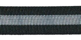 Zwart-zilver-zwart grosgrainband 25 mm (ca. 45 m)