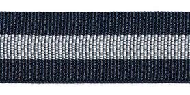Donkerblauw-zilver-donkerblauw grosgrainband 25 mm (ca. 45 m)