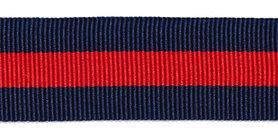 Donkerblauw-rood-donkerblauw grosgrainband 25 mm (ca. 45 m)