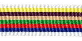 Wit-geel-bruin-zand-groen-rood-blauw-wit grosgrainband 25 mm (ca. 45 m)
