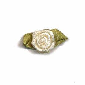 Roosje satijn creme op blad 15 x 25 mm (ca. 25 stuks)