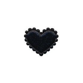 Applicatie hart zwart satijn klein 20 x 17 mm (ca. 100 stuks)