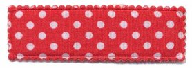 Haarkniphoesje rood met witte stip / polkadot 5 cm rechthoekig (ca. 100 stuks)