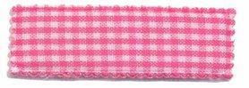 Haarkniphoesje knal roze-wit geruit 5 cm rechthoekig (ca. 100 stuks)