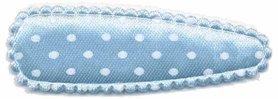 Haarkniphoesje satijn licht blauw met witte stip / polkadot 5 cm (ca. 100 stuks)