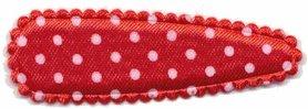 Haarkniphoesje satijn rood met witte stip / polkadot 5 cm (ca. 100 stuks)