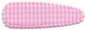 Haarkniphoesje geruit wit-licht roze 5 cm (ca. 100 stuks)