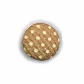 Flatback / stofknoop polkadot licht bruin 16 mm (10 stuks)